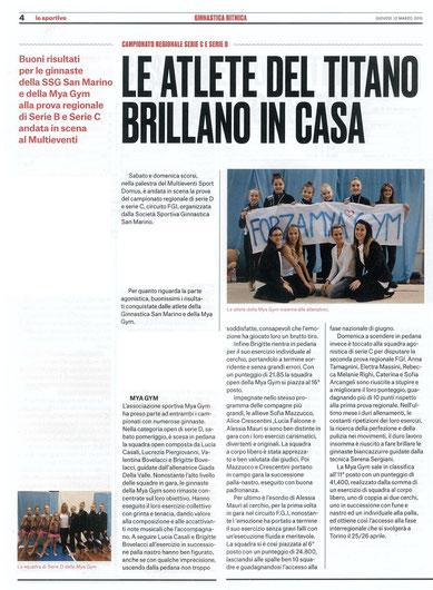 """Articolo da """"Lo sportivo"""" del 12/03/2015"""
