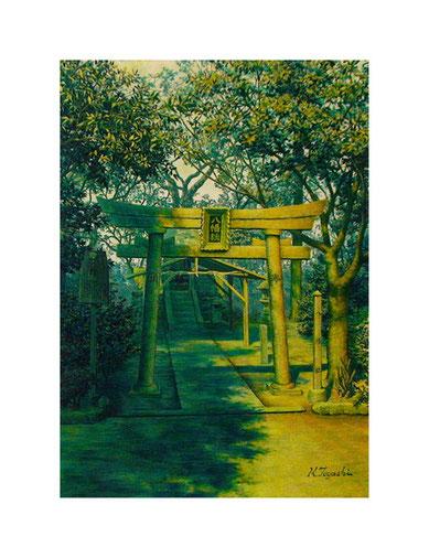 豊国神社八幡社(アクリル絵の具/ケント紙)A4サイズ