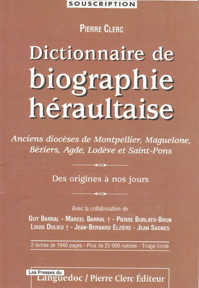 Document de souscription au dictionnaire de Pierre CLERC