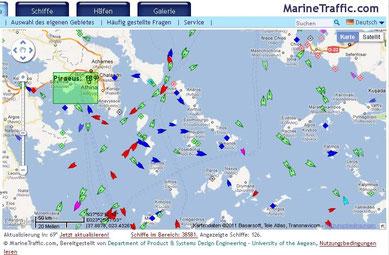 marinetraffic am 25. Oktober - der 1. Tag nach dem Streik