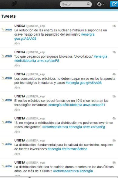 Mensajes en Twitter de UNESA