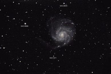 Feuerradgalaxie (M101) am 18 - 21.04.2009, Celestron C9.25 (CG-5GT) mit Focalreducer, Canon EOS 450Da im Primärfokus, 1.480 mm, f/6.3, ISO 1600, IDAS LP2-Filter, 34 x 120sec (ohne Guiding)