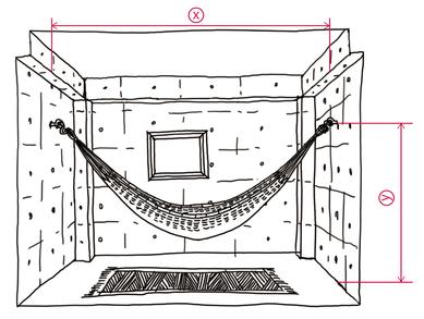 コンクリート造でのハンモックの設置距離XY
