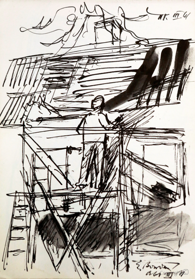 """Erwin Bowien (1899-1972) - Reparaturarbeiten am """"Roten Haus"""", 1961"""