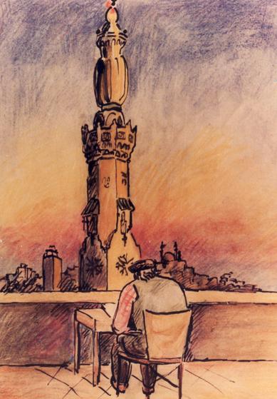 Amud Uwe Millies beim Zeichnen in Kairo, 1984