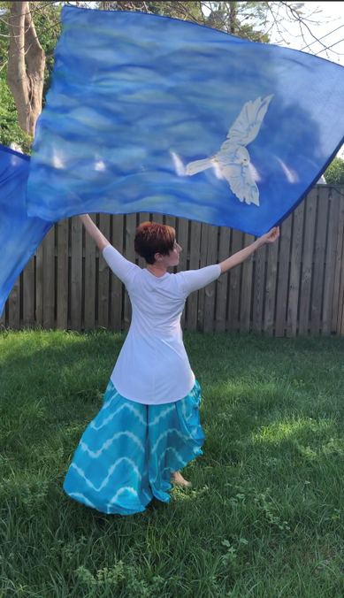 Blue Flags with white doves