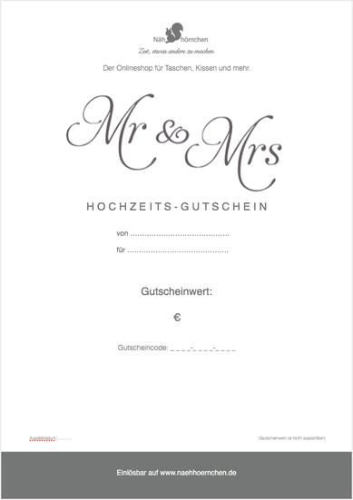 """Geschenkgut zum Ausdrucken (PDF) - Motiv """"Mr & Mrs"""""""