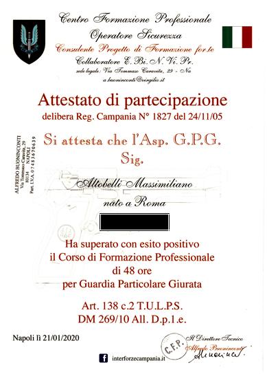 Attestato Agenzia Investigativa a Roma