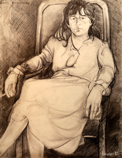Portrait drawing of Bettina Heinen-Ayech in your studio by your painting student Hocine Himeur, 1987