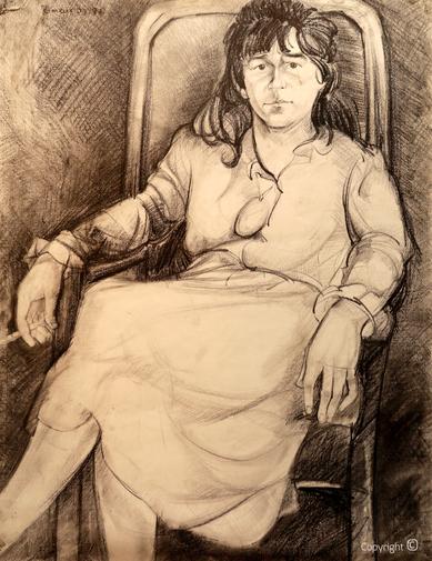 Portraitzeichnung von Bettina Heinen-Ayech in Ihrem Atelier durch Ihren Malschüler Hocine Himeur, 1987