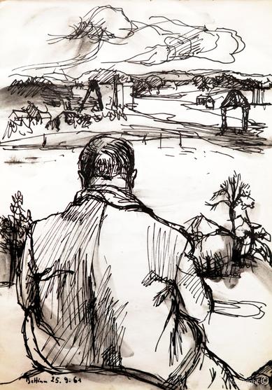 Bettina Heinen-Ayech (1937-2020): Erwin Bowien beim Zeichnen in Norwegen, 1961