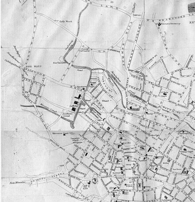 Map (part) above from Charles Pye 1818  'A Description of Modern Birmingham' - out of copyright