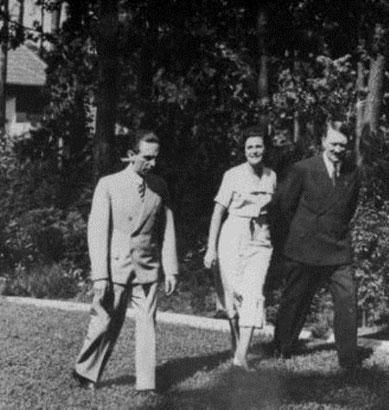 Propagandaminister Joseph Goebbels, Adolf Hitler og filminstruktør Leni Riefenstahl