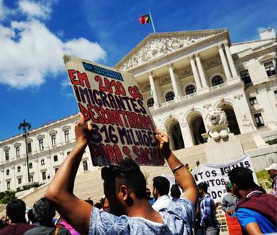 Demo for migranternes rettigheder i Lissabon