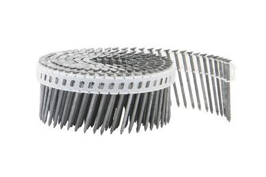 Coilnägel plastikgebunden - 16° - 2.1 mm Durchmesser - 45 mm Länge - feuerverzinkt - Ringschaft  - Rundkopf - flache Spitze