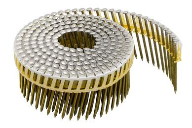 Coilnägel plastikgebunden - 16° - 2.5 mm Durchmesser - 76 mm Länge - Edelstahl A4 rostfrei - Ringschaft  - Flachkopf