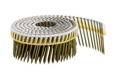 Coilnägel plastikgebunden - 16° - 2.5 mm Durchmesser - 55 mm Länge - Edelstahl A2 rostfrei - Ringschaft  - Linsenkopf