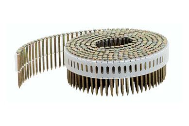 Coilnägel plastikgebunden 2.5 mm Durchmesser 75 mm Länge 0° Ringschaft blank