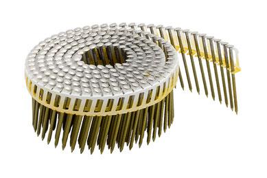 Coilnägel plastikgebunden - 16° - 2.5 mm Durchmesser - 65 mm Länge - Edelstahl A4 rostfrei - Ringschaft  - Linsenkopf