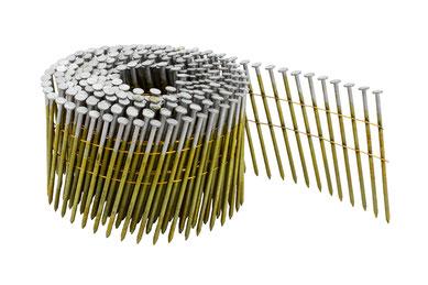 Coilnägel auf Rolle drahtgebunden 3.1 mm Durchmesser - 90 mm Länge - 12µ verzinkt - Ringschaft
