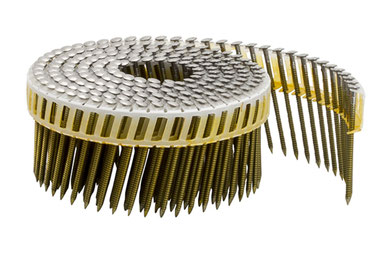 Coilnägel plastikgebunden - 16° - 2.5 mm Durchmesser - 66 mm Länge - Edelstahl A4 rostfrei - Ringschaft  - Flachkopf