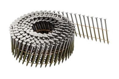 Coilnägel auf Rolle drahtgebunden 3.1 mm Durchmesser - 90 mm Länge - blank - Ringschaft