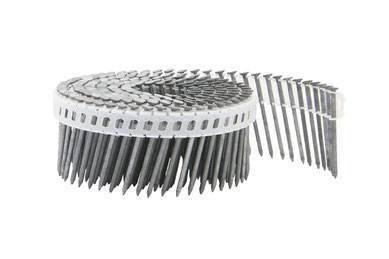 Coilnägel plastikgebunden - 16° - 2.1 mm Durchmesser - 45 mm Länge - feuerverzinkt - Ringschaft  - Flachkopf
