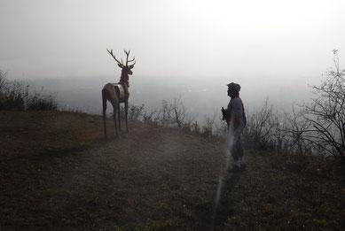 Die Sonne vertreibt den Nebel im Neckartal