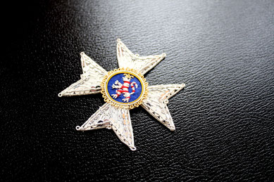 Hessen-Kassel Orden vom Goldenen Löwen Komturkreuz gestickter Bruststern Replik