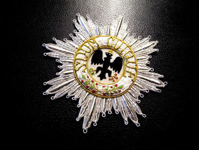 Preußen Schwarzer Adlerorden Ordensstern gestickter Bruststern Replik