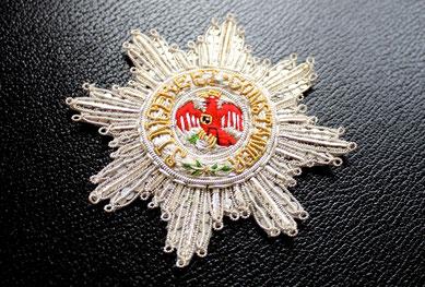 Preußen Roter Adlerorden I. Klasse mit Schwertern am Ring gestickter Bruststern Replik