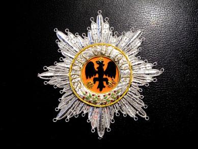 Preußen Schwarzer Adlerorden gestickter Bruststern Replik