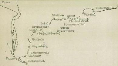 Marche Blumenthal-Lübeck (Kartenausschnitt). ITS/Arolsen Archives