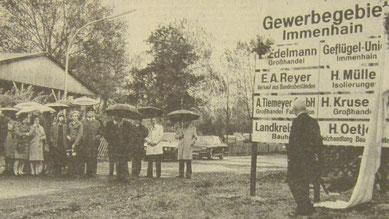 """Einweihung des """"Gewerbegebiet Immenhain"""" durch den Landrat Walter Hölter am 12. Oktober 1974. Foto: Piontek, 12.10.1974. Bremervörder Zeitung"""
