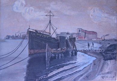 """Gemälde der """"Admiral Brommy"""" im Bremer Hafen. In dem Frachter waren 358 französische Kriegsgefangene untergebracht."""