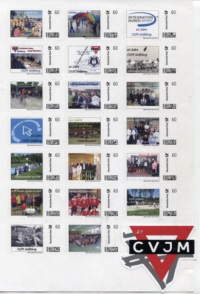 Zum 60-jährigen Vereinsjubiläum erstellte Briefmarken mit Motiven aus den vergangenen Jahrzehnten