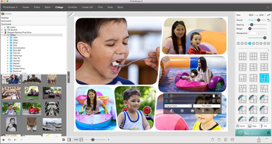 Photos collage user Interface of Photoscape X