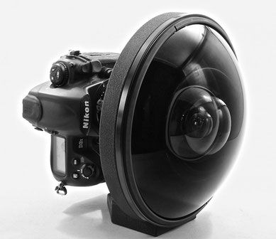 Picture of an extrem wide angle lens, the Nikkor 6mm f/2.8 fisheye