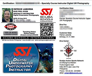 My certification card of UnderWater Photography Instructor