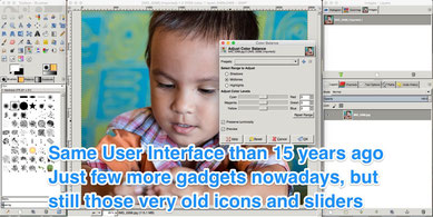 The old User Interface of gimp image retouching app