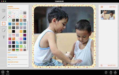 Compose a photo border and frames editor
