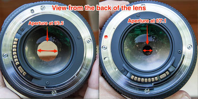 Example of different aperture on the iris diaphragm of a lens