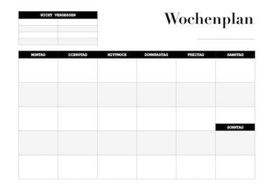 Abbildung des Wochenplans