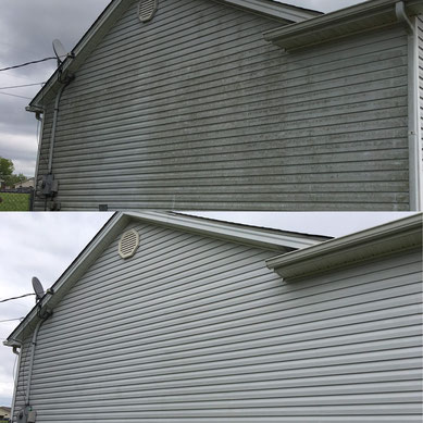 before and after soft washing house, low pressure wash.