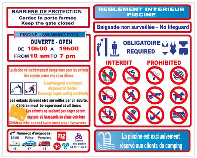 Panneau obligatoire piscine jr signaletic panneaux campings for Regle de securite piscine