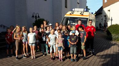 Teilnehmer und Ausbilder beim JRK Ferienprogramm in Oberleichtersbach am 23.08.2017