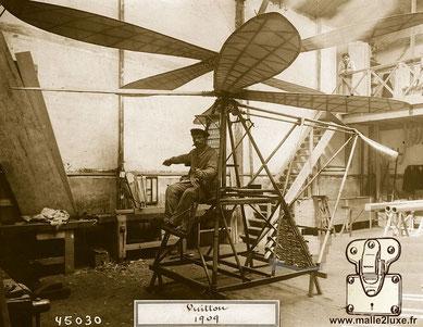 Hélicoptère imaginé par Jean et Pierre Vuitton en 1908, construit en 1909 - Vuitton-Hubert