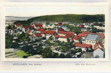 Eine Ansichtskarte aus der Buchdruckerei und Buchbinderei Adolf Scharlach Bäckerstrasse Weferlingen = Blick vom Kirchturm =