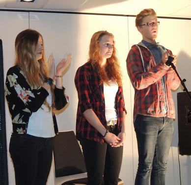 In der dritten Gruppe kämpften Darlyn Gutsch, Gina Heitmann und Lukas Lindig (v.l.n.r.) um die Gunst des Publikums.
