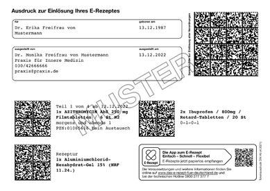Muster für ein ausgedrucktes elektronisches Rezept vom Arzt
